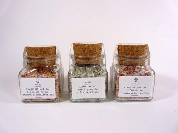 Trio de fleur de sel algues tomate échalote et piment d'Espelette